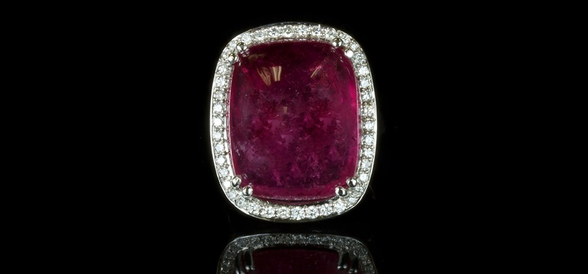 Rubillite and Diamond Ring