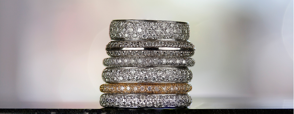 Stack of Eternity Bands